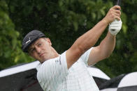 Bryson DeChambeau tees off on the third hole during the first round of the Memorial golf tournament, Thursday, June 3, 2021, in Dublin, Ohio. (AP Photo/Darron Cummings)