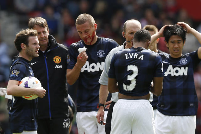 Nemanja Vidic a bloody mess in his final match for Man United