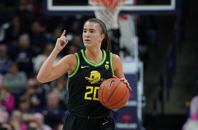 Feb 3, 2020; Storrs, Connecticut, USA; Oregon Ducks guard Sabrina Ionescu (20) returns the ball up court against the UConn Huskies in the second half at Harry A. Gampel Pavilion. Oregon won 74-56. Mandatory Credit: David Butler II-USA TODAY Sports