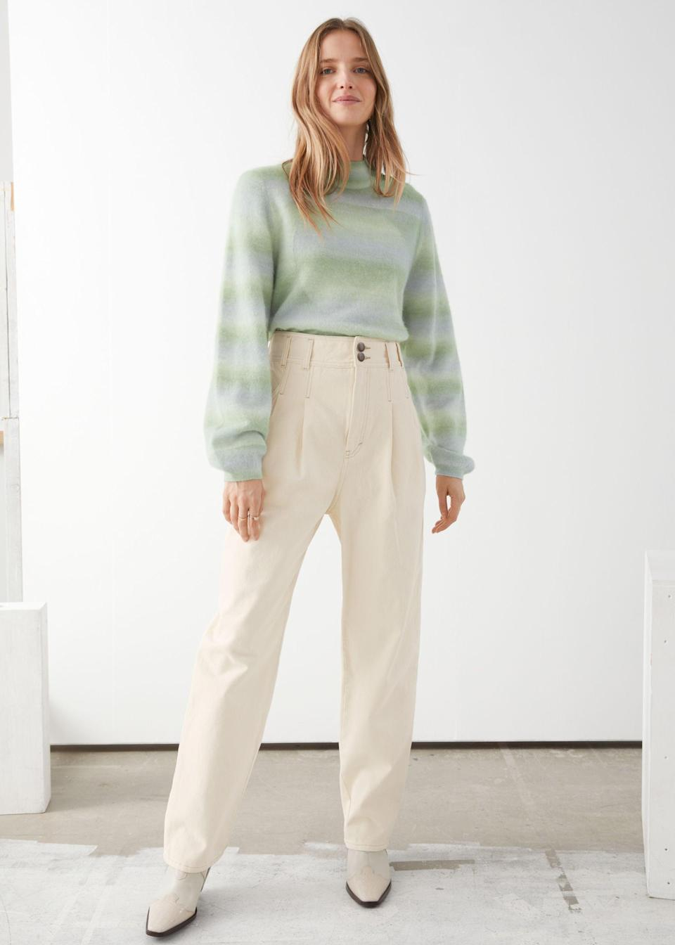 """<br> <br> <strong>& Other Stories</strong> High Rise Pleated Jeans, $, available at <a href=""""https://go.skimresources.com/?id=30283X879131&url=https%3A%2F%2Fwww.stories.com%2Fen_usd%2Fclothing%2Fjeans%2Fproduct.high-rise-pleated-jeans-white.0816018002.html"""" rel=""""nofollow noopener"""" target=""""_blank"""" data-ylk=""""slk:& Other Stories"""" class=""""link rapid-noclick-resp"""">& Other Stories</a>"""