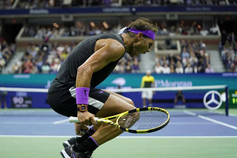 Rafael Nadal, of Spain, reacts after winning the first set against Matteo Berrettini, of Italy, during the men's singles semifinals of the U.S. Open tennis championships Friday, Sept. 6, 2019, in New York. (AP Photo/Eduardo Munoz Alvarez)