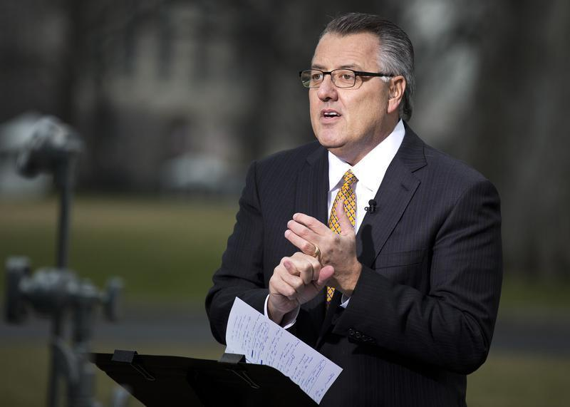 Greg Brown, Chairman and CEO, Motorola Solutions, speaks with the media after meeting with U.S. President Barack Obama and other CEOs at the White House in Washington