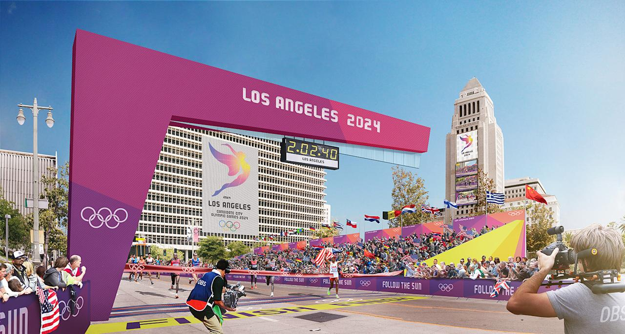<p>Runners cross the finish line near City Hall as shown in this Downtown Sports Park rendering. (Photo: Courtesy LA 2024) </p>