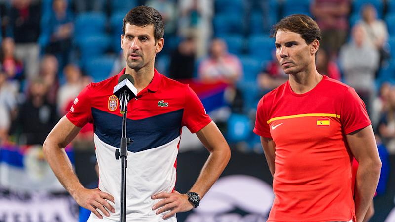 Novak Djokovic and Rafael Nadal, pictured here at the ATP Cup in January.