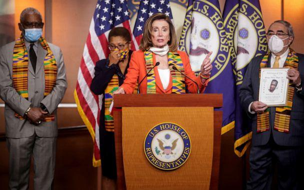 PHOTO:House Speaker Nancy Pelosi looks stands with members of the Congressional Black Caucus during a news conference at the U.S. Capitol in Washington, D.C., June 8, 2020. (Jonathan Ernst/Reuters)