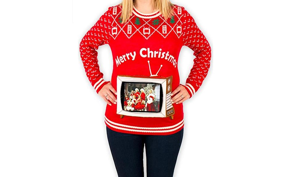 """<p>It's kinda genius: The basic ugly Christmas sweater design is there, along with a pouch in which you put your iPad or other tablet that displays a great photo or video. Might we suggest a photo of Ross Gellar as The Holiday Armadillo, or <em>The Office</em> """"Christmas Party"""" episode from Season 2? <strong><a rel=""""nofollow noopener"""" href=""""https://www.amazon.com/Womens-Tablet-Christmas-Sweater-Medium/dp/B06XNK7NZW/ref=as_li_ss_tl?srs=9219980011&ie=UTF8&qid=1511062635&sr=8-12&linkCode=sl1&tag=iishish-20&linkId=731745d345928b2519e6eebc65ceddfa"""" target=""""_blank"""" data-ylk=""""slk:Buy here"""" class=""""link rapid-noclick-resp"""">Buy here</a></strong> </p>"""