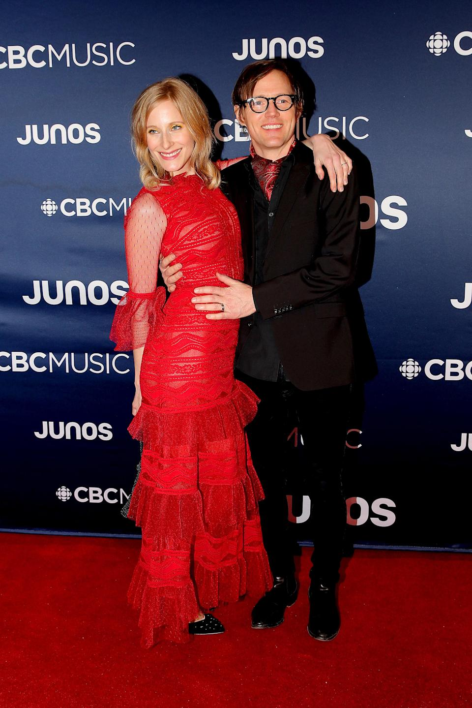 <p>Melissa McClelland looked ready to dance the night away in a red lace dress with layers upon layers of ruffles. </p>
