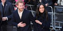 "<p>Another adorable outtake from the event, Harry held onto his fiancé's hand as they crossed the street. Making the sweet moment even better, we were treated to a full view of <a href=""https://www.harpersbazaar.com/celebrity/latest/a13935638/meghan-markle-engagement-ring/"" rel=""nofollow noopener"" target=""_blank"" data-ylk=""slk:Markle's glorious engagement ring"" class=""link rapid-noclick-resp"">Markle's glorious engagement ring</a> from this angle.</p>"