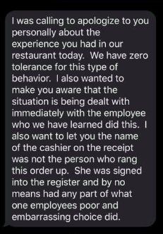 The manager of Firehouse Subs texted Zhao Zhe to apologise for the the slur, explaining Pamela was not responsible for it. Source: Zhao Zhe - Facebook.