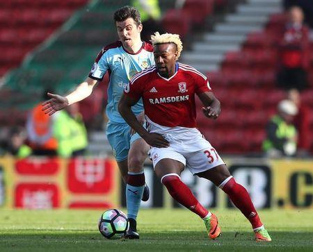 Britain Football Soccer - Middlesbrough v Burnley - Premier League - The Riverside Stadium - 8/4/17 Burnley's Joey Barton in action with Middlesbrough's Adama Traore Reuters / Scott Heppell Livepic