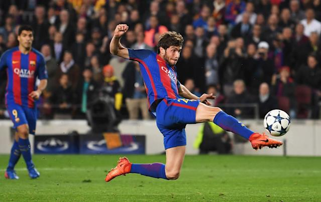 <p>Sergi Roberto of Barcelona scores their sixth goal during the UEFA Champions League Round of 16 second leg match between FC Barcelona and Paris Saint-Germain at Camp Nou on March 8, 2017 in Barcelona, Spain. (Photo by Laurence Griffiths/Getty Images) </p>