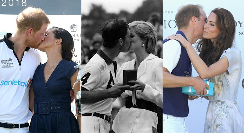 The royals aren't object to the occasional kiss. [Photos: Getty, PA, Getty]