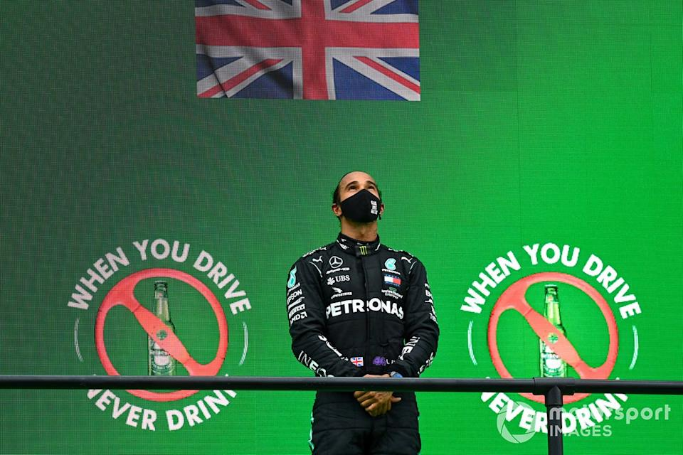 "Lewis Hamilton, Mercedes-AMG F1, 1st position, on the podium<span class=""copyright"">Mark Sutton / Motorsport Images</span>"