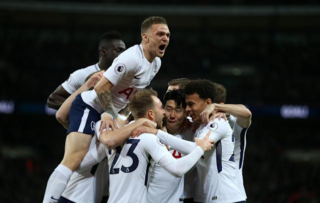 "Tottenham celebrates <a class=""link rapid-noclick-resp"" href=""/soccer/players/christian-eriksen/"" data-ylk=""slk:Christian Eriksen"">Christian Eriksen</a>'s opening-minute goal against <a class=""link rapid-noclick-resp"" href=""/soccer/teams/manchester-united/"" data-ylk=""slk:Manchester United"">Manchester United</a> on Wednesday. (Getty)"