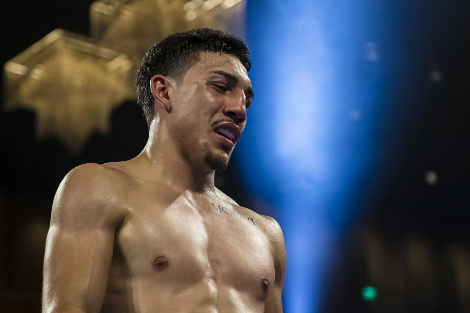 OXON HILL, MD - JULY 19: Teofimo Lopez walks to his corner after the seventh round of his lightweight IBF World Title Elimination fight against Masayoshi Nakatani (not pictured) at The Theater at MGM National Harbor on July 19, 2019 in Oxon Hill, Maryland. (Photo by Scott Taetsch/Getty Images)