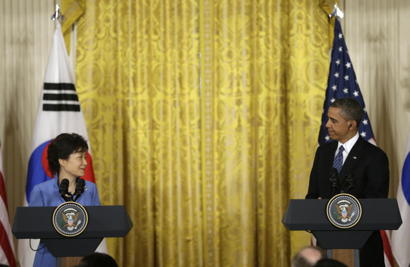 President Barack Obama and South Korean President Park Geun-Hye during their joint news conference in the East Room of the White House in Washington, Tuesday, May 7, 2013. (AP Photo/Pablo Martinez Monsivais)
