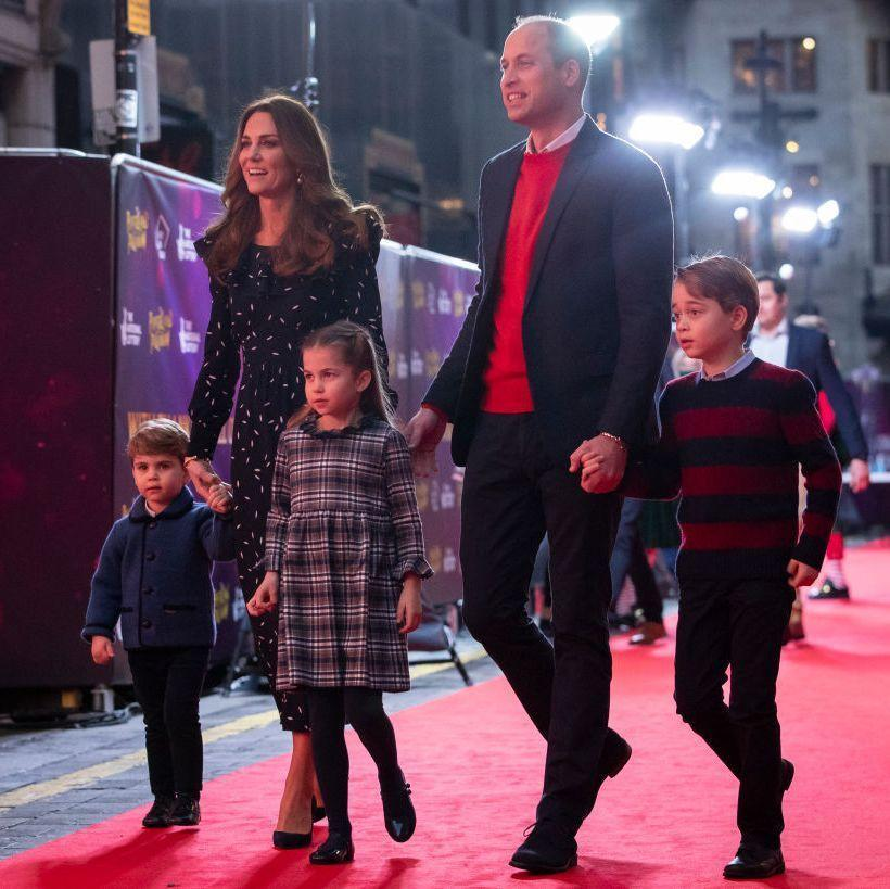 <p>The Cambridge family made their red carpet debut when they visited the London Palladium for a performance of a classic British pantomime show. And while the Cambridges were photographed without masks outside the theater, inside both William and Kate wore masks.</p>
