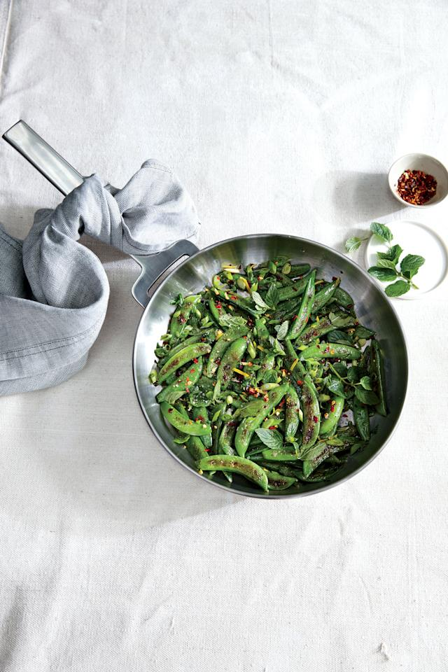 """<p>Mint adds a fresh finish to this side dish, but fresh chopped thyme or oregano leaves will also pair well with the snap peas.</p> <p><a href=""""https://www.myrecipes.com/recipe/sauteed-sugar-snap-peas-chile-lemon-mint"""">Sauteed Sugar Snap Peas with Chile, Lemon, and Mint Recipe</a></p>"""