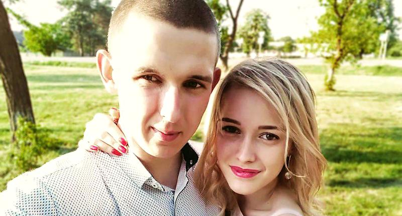 Yulia Sharko's husband, Artur (left), found his wife (right) unconscious in Staroe Selo, Ukraine. He broke the jammed window to release her.