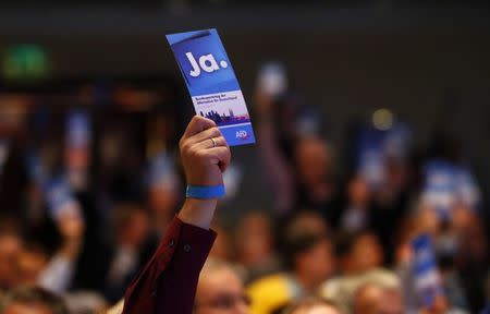 Delegates vote during a party congress of Germany's anti-immigration party Alternative for Germany (AFD) in Cologne Germany, April 23, 2017. REUTERS/Wolfgang Rattay