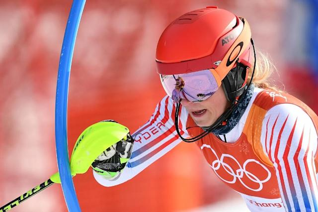 "Mikaela Shiffrin admitted it was ""not ideal"" but expressed relief at her decision to skip Wednesday's downhill to focus on winning a second Pyeongchang gold in the alpine combined event 24 hours later (AFP Photo/Fabrice COFFRINI)"