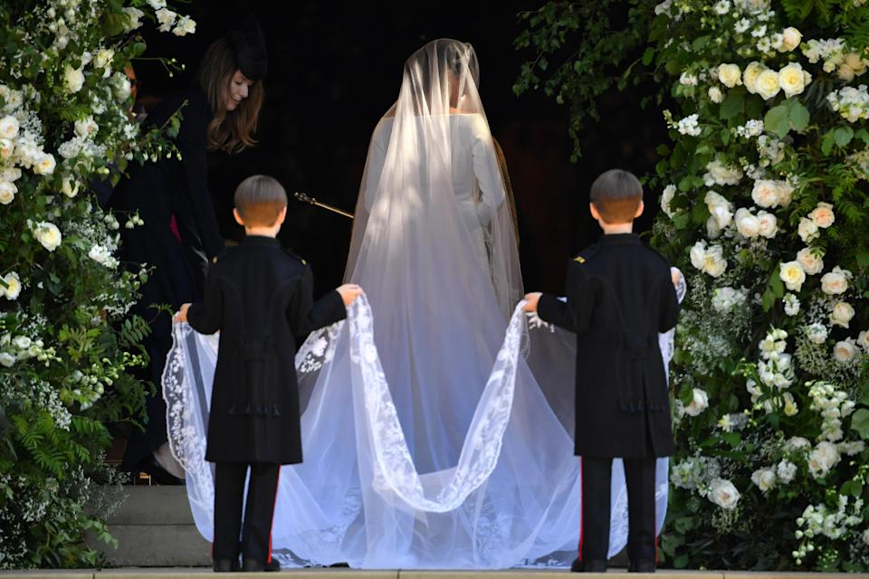 <p>The train on Meghan's dressed was reported to be five metres long. (Getty) </p>