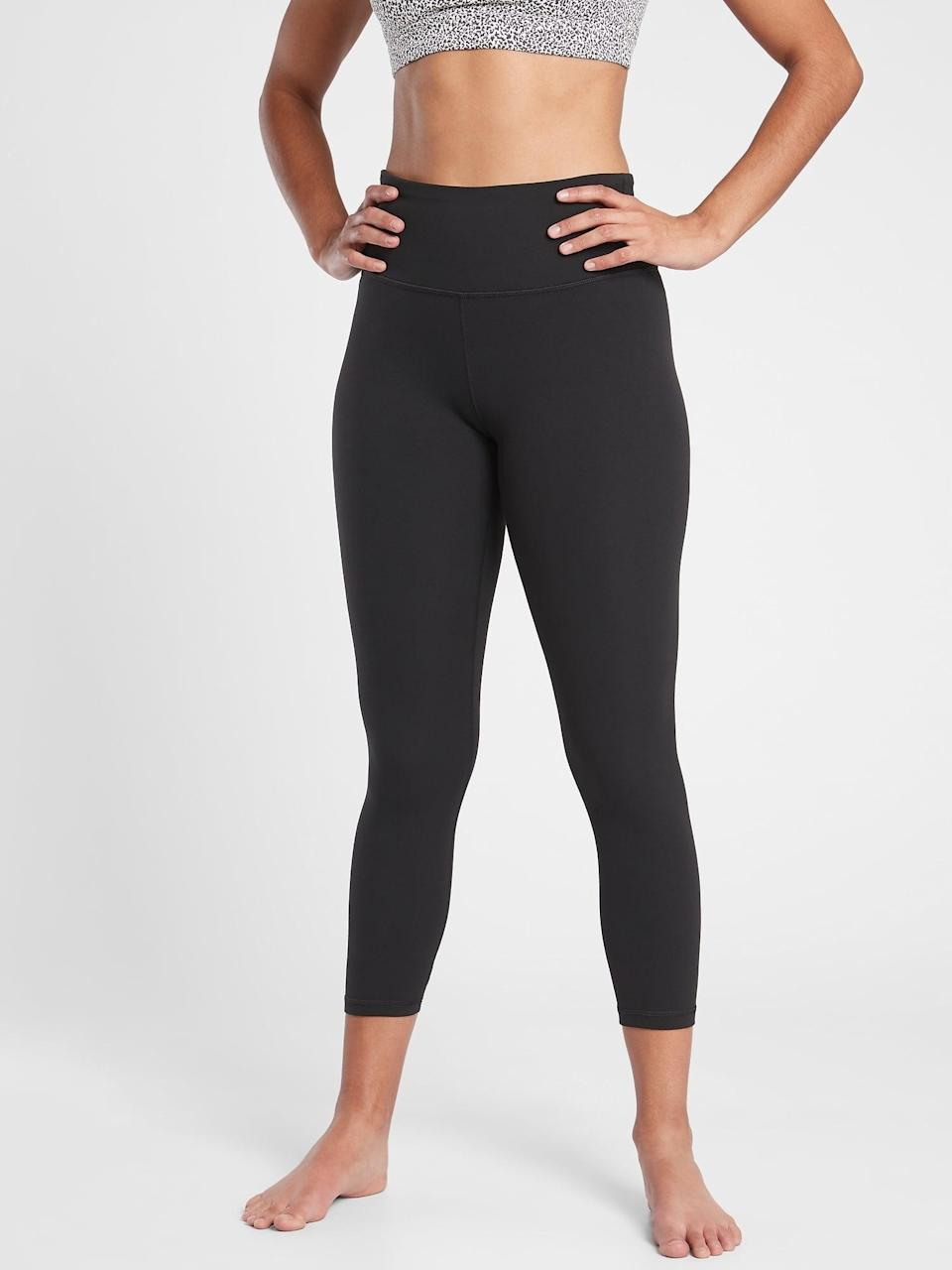 <p>The top-rated <span>Athleta Elation Capri</span> ($79) is a go-to pant when you want a cropped fit in olive, navy, or black. </p>