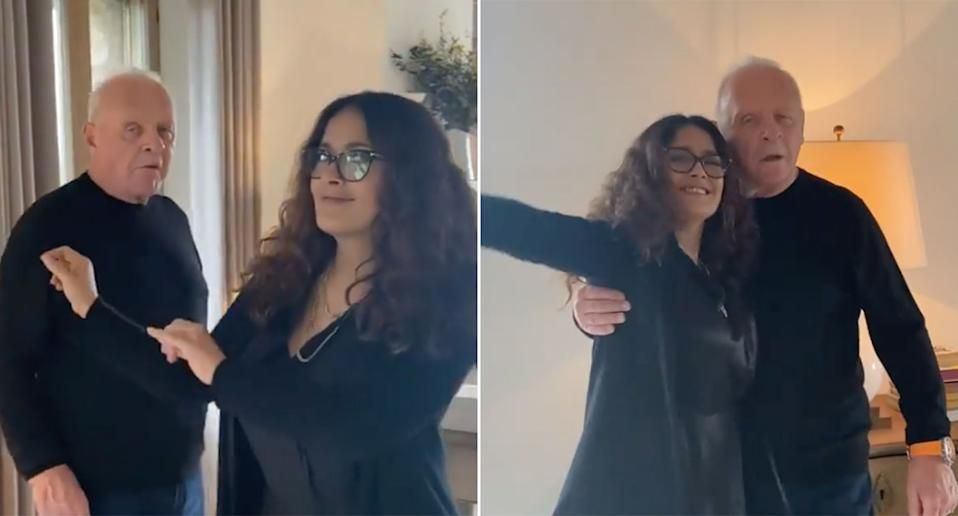 Salma Hayek and Sir Anthony Hopkins have a little dance to celebrate Hopkins' Oscar win (Instagram/salmahayek)
