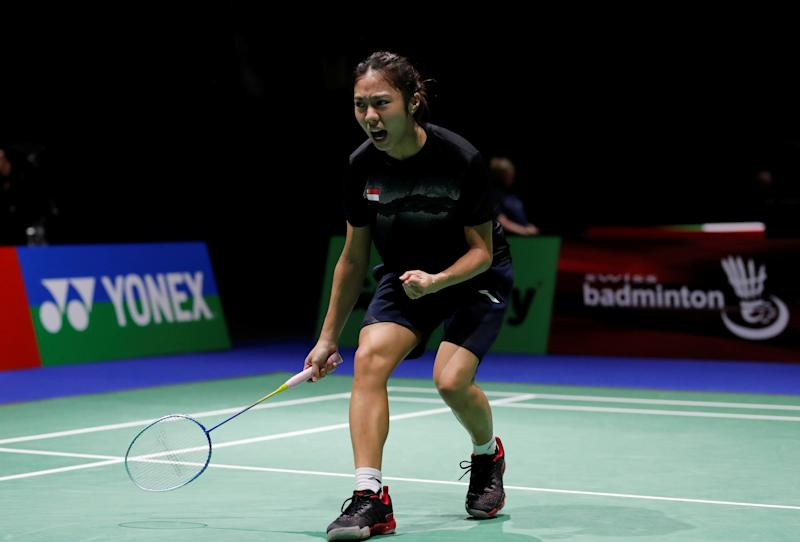 2019 Badminton World Championships - St. Jakobshalle Basel, Basel, Switzerland - August 20, 2019 Singapore's Yeo Jia Min celebrates during her second round singles match against Japan's Akane Yamaguchi REUTERS/Arnd Wiegmann