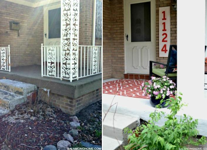 """<body> <p>Add a little art to the front of your home with a DIY <a href="""" http://www.bobvila.com/articles/house-numbers/#.VQmhy2TF8bo?bv=yahoo"""" rel=""""nofollow noopener"""" target=""""_blank"""" data-ylk=""""slk:house number"""" class=""""link rapid-noclick-resp"""">house number</a> upgrade. This graphically assertive sign required just a board and a little paint that was already on hand, along with some stencils for the numbers. The results are bold—the pizza delivery guy will never miss this house again.</p> <p><strong>Related: <a href="""" http://www.bobvila.com/modern/12495-11-house-numbers-to-count-on-for-curb-appeal/slideshows#.VQmhymTF8bo?bv=yahoo"""" rel=""""nofollow noopener"""" target=""""_blank"""" data-ylk=""""slk:11 House Numbers to Count On for Curb Appeal"""" class=""""link rapid-noclick-resp"""">11 House Numbers to Count On for Curb Appeal</a> </strong> </p> </body>"""