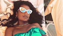 """<p>The colour green was made for Simone Ashley. Where can we get these sunnies, please?</p><p><a href=""""https://www.instagram.com/p/B9kxImwnXTj/"""" rel=""""nofollow noopener"""" target=""""_blank"""" data-ylk=""""slk:See the original post on Instagram"""" class=""""link rapid-noclick-resp"""">See the original post on Instagram</a></p>"""