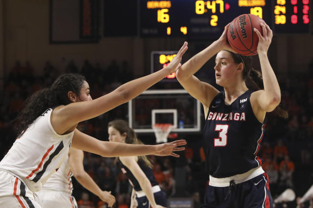 Oregon State's Taya Corosdale (5) defends against Gonzaga's Jenn Wirth (3) during the first half of a second-round game of the NCAA women's college basketball tournament in Corvallis, Ore., Monday, March 25, 2019. (AP Photo/Amanda Loman)