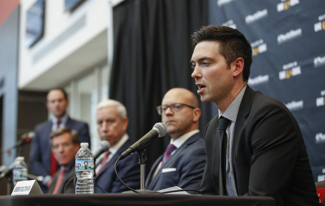 Chicago Blackhawks new head coach Jeremy Colliton speaks during an NHL hockey press conference Tuesday, Nov. 6, 2018, in Chicago. Colliton replaces Joel Quenneville who was fired on Tuesday. (AP Photo/Kamil Krzaczynski)
