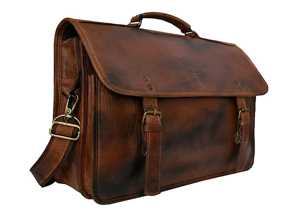 <p>If they are constantly on the go, get them this stunning <span>Men's Leather Laptop Personalized Messenger Bag</span> ($125). It's completely customizable to fit their lifestyle needs including the size, adding a waterproof coating, adding an umbrella holder, adding backpack straps, or even adding a luggage trolley straps.</p>