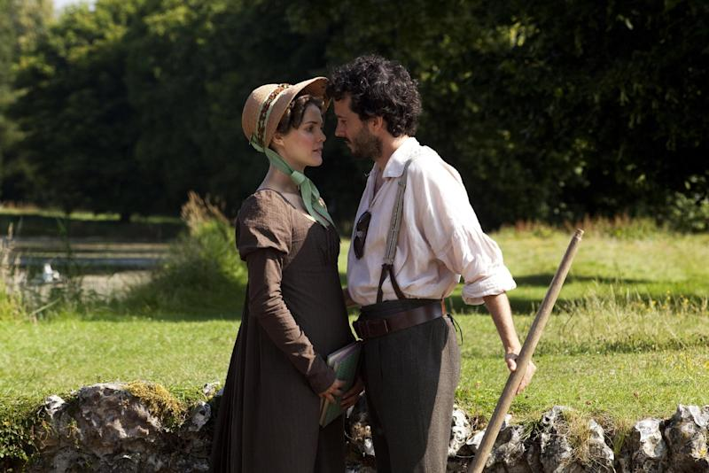 "This undated publicity photo provided by the Sundance Institute shows Keri Russell, left, and Bret McKenzie, in a scene from the film, ""Austenland,"" included in the U.S. Dramatic Film competition at the 2013 Sundance Film Festival. (AP Photo/Sundance Institute)"