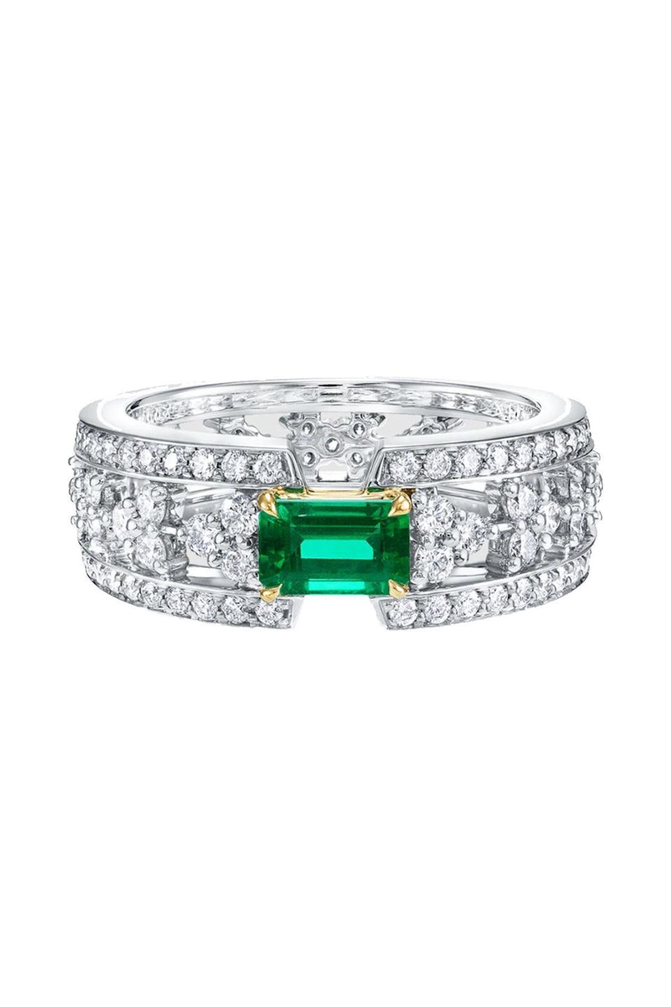 """<p><strong>Harry Winston</strong></p><p>harrywinston.com</p><p><a href=""""https://www.harrywinston.com/en/products/harry-winston-fashion-ring/emerald-and-diamond-ring-fremecddhwf"""" rel=""""nofollow noopener"""" target=""""_blank"""" data-ylk=""""slk:Shop Now"""" class=""""link rapid-noclick-resp"""">Shop Now</a></p><p>Trust the jewelers at Harry Winston to know their way around a diamond ring. This glittering band made from 139 diamonds is perfectly set off with an emerald. </p>"""