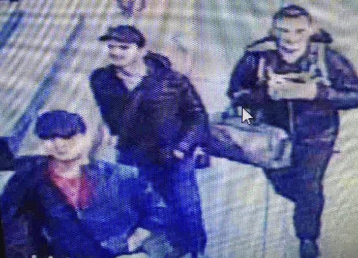 <p>In this framegrab from CCTV video, made available by the Turkish Haberturk newspaper on Thursday, June 30, 2016, people believed to be the attackers walk in Istanbul's Ataturk airport, Tuesday June 28, 2016. (Haberturk newspaper via AP Photo) </p>