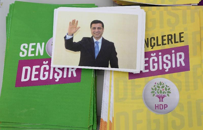 A brochure shows Selahattin Demirtas, pro-Kurdish Peoples's Democratic Party (HDP) presidential candidate, who is campaigning from his prison cell in Turkey's  presidential election set for June 24