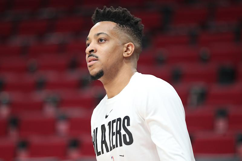 CJ McCollum #3 of the Portland Trail Blazers looks on prior to taking on the San Antonio Spurs at Moda Center on February 06, 2020 in Portland, Oregon. NOTE TO USER: User expressly acknowledges and agrees that, by downloading and or using this photograph, User is consenting to the terms and conditions of the Getty Images License Agreement. (Photo by Abbie Parr/Getty Images)