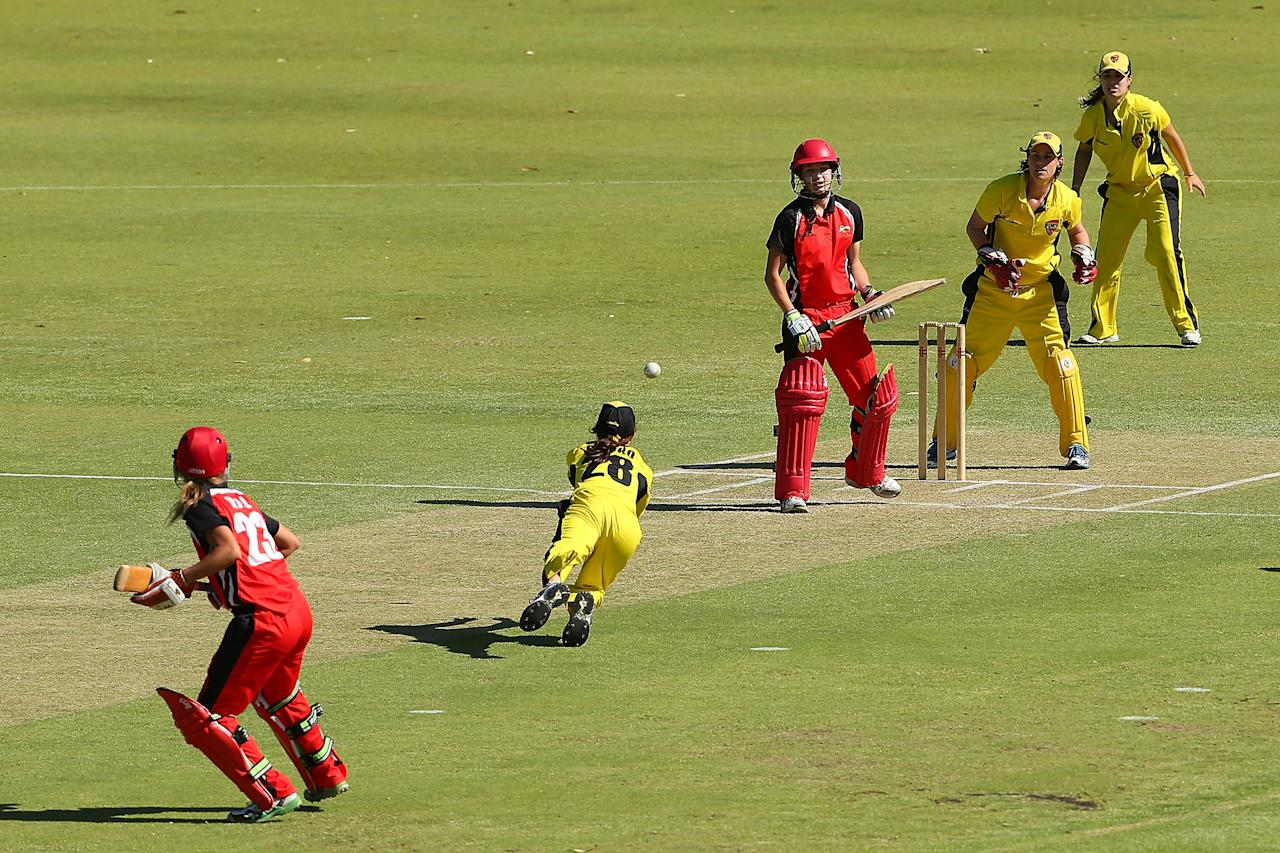 PERTH, AUSTRALIA - DECEMBER 08: Chloe Piparo of the Fury dives to catch Megan Schutt of the Scorpions during the WNCL match between the Western Australia Fury and the South Australia Scorpions at  on December 8, 2012 in Perth, Australia.  (Photo by Paul Kane/Getty Images)
