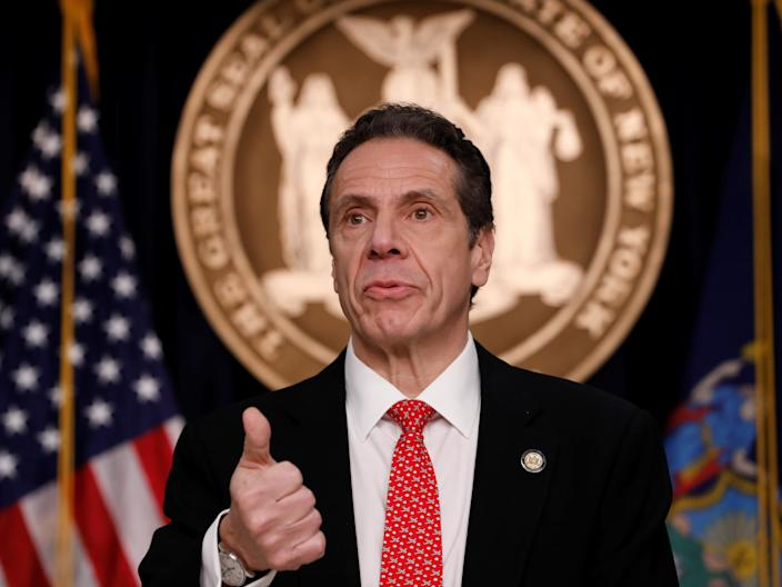 FILE PHOTO: New York Governor Andrew Cuomo delivers remarks at a news conference regarding the first confirmed case of coronavirus in New York State in Manhattan borough of New York City, New York, U.S., March 2, 2020. REUTERS/Andrew Kelly