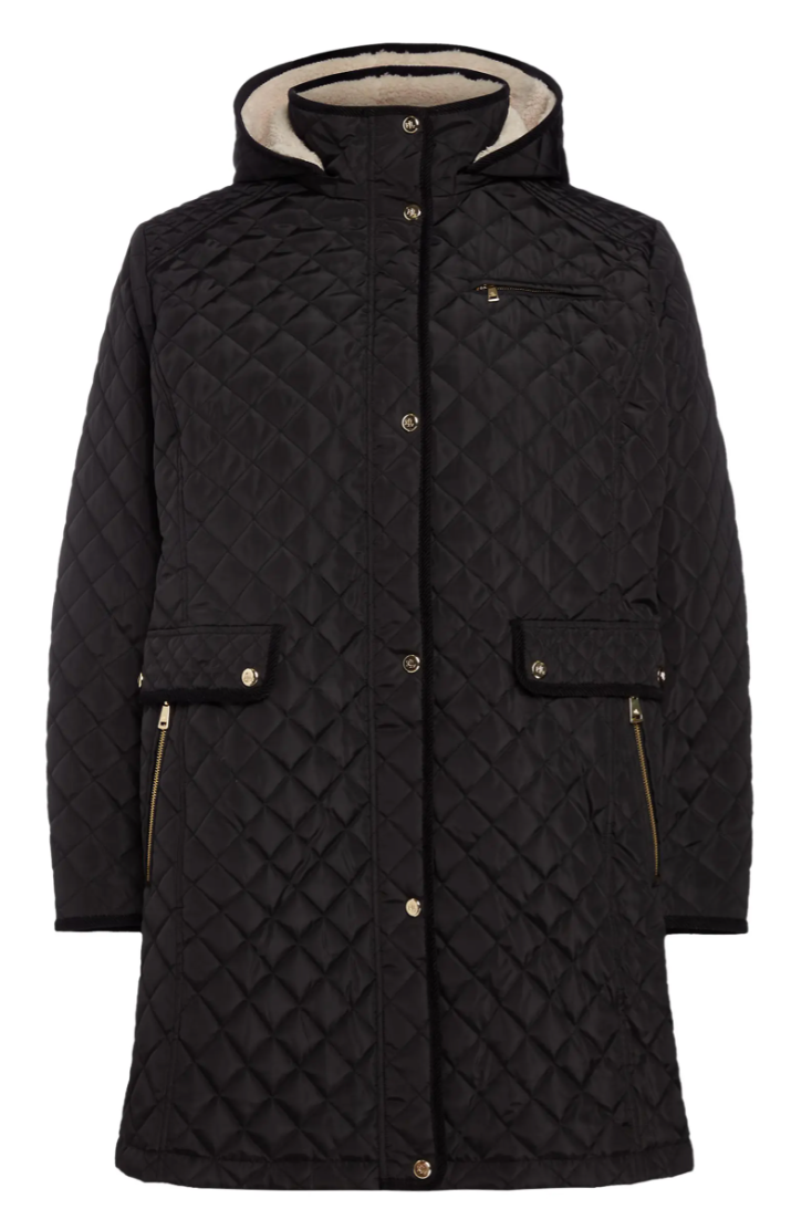 Lauren Ralph Lauren Quilted Coat with Faux Shearling Lining in Black (Photo via Nordstrom)