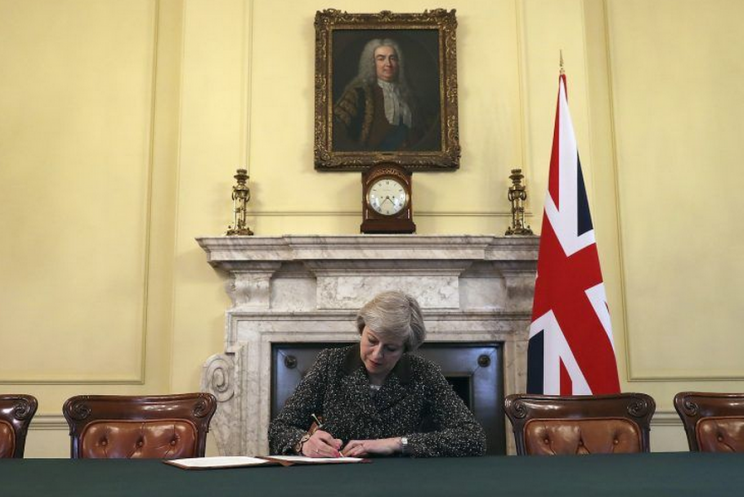 Theresa May signed the Article 50 letter last night (Getty)