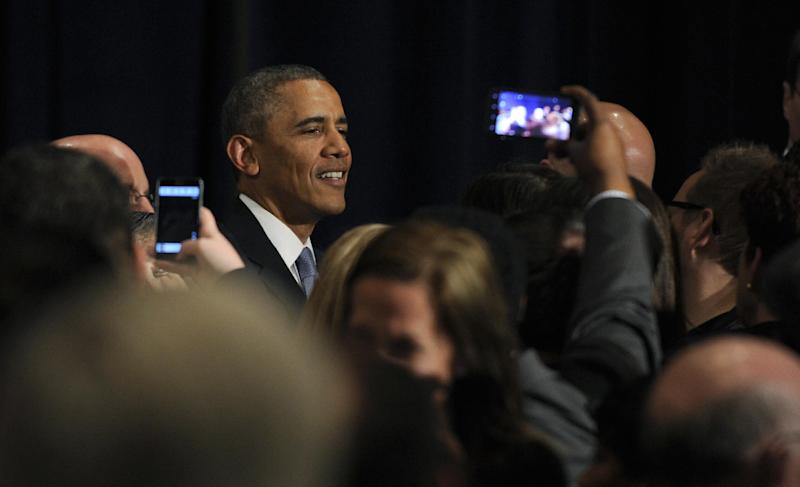 President Barack Obama greets the crowd after speaking at a Democratic National Committee reception in San Jose, Calif., Thursday, May 8, 2014. Obama is spending three days in California raising money for the Democratic party. (AP Photo/Susan Walsh)