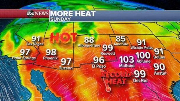 PHOTO: Another round of heat will build in the desert in the Southwest and Southern California by midweek. Temperatures will be in the 90s for parts of southern California while triple digits will be likely in Palm Springs to Las Vegas to Phoenix. (ABC News)