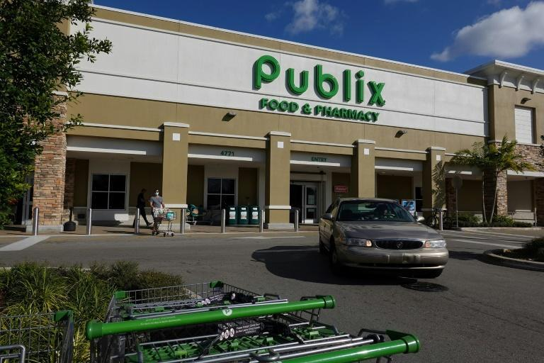 This Publix store in Delray Beach, Florida, was serving as a Covid-19 vaccination site on January 29, 2021, but the company has been sued after a worker in Miami Beach died at a time the chain was barring employees from wearing masks