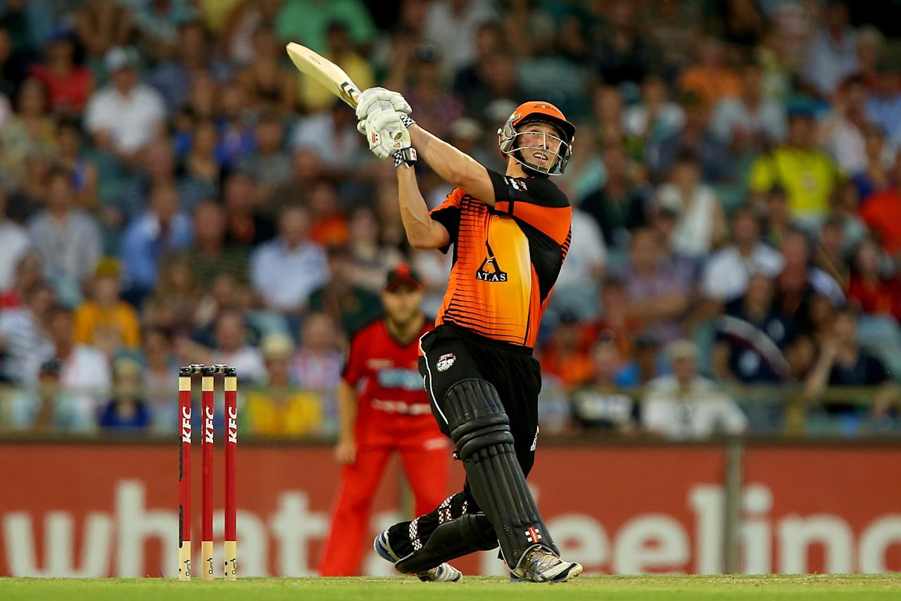 PERTH, AUSTRALIA - DECEMBER 29:  Shaun Marsh of the Scorchers hits out during the Big Bash League match between the Perth Scorchers and the Melbourne Renegads at WACA on December 29, 2012 in Perth, Australia.  (Photo by Paul Kane/Getty Images)