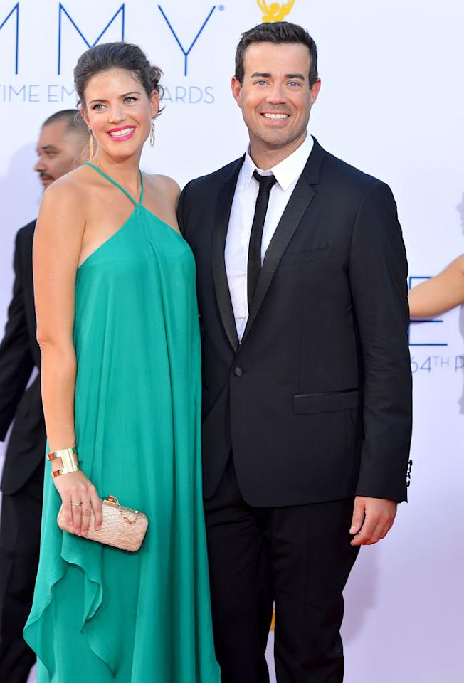 Carson Daly and Siri Pinter arrive at the 64th Primetime Emmy Awards at the Nokia Theatre in Los Angeles on September 23, 2012.