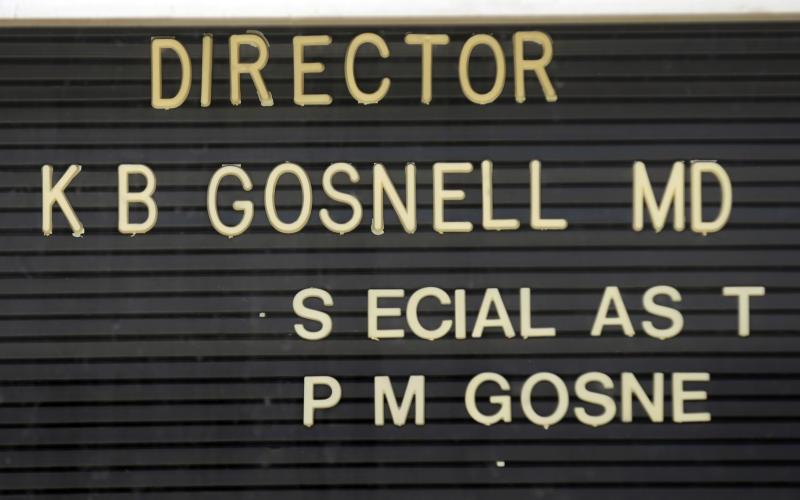 In this May 1, 2013 file photo, letters are missing from the directory of Dr. Kermit Gosnell's former facility, the Women's Medical Society, in Philadelphia. Gosnell, a Philadelphia abortion doctor convicted of killing three babies who were born alive in his grimy clinic agreed Tuesday May 14, 2013 to give up his right to an appeal and faces life in prison but will be spared a death sentence. (AP Photo/Matt Rourke)
