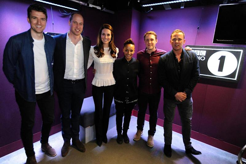 Radio line-up: Greg James, the Duke and Duchess of Cambridge, Adele Roberts, Chris Stark and Scott Mills (PA)